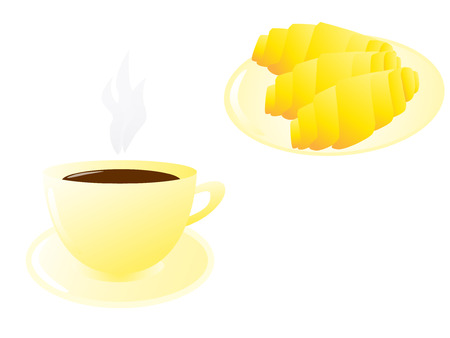 Vector illustration of a cup of hot coffee and fresh croissants Vector