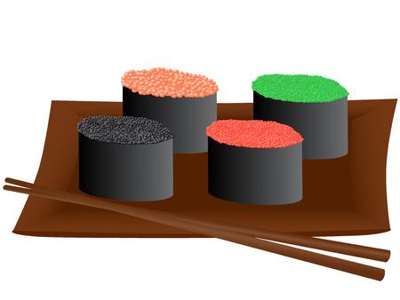 caviar: Vector illustration de sushis au caviar Illustration