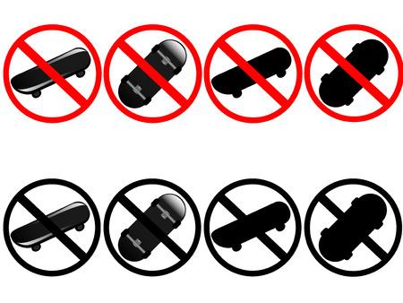 Vector illustration of warning skateboard signs Stock Vector - 2416343