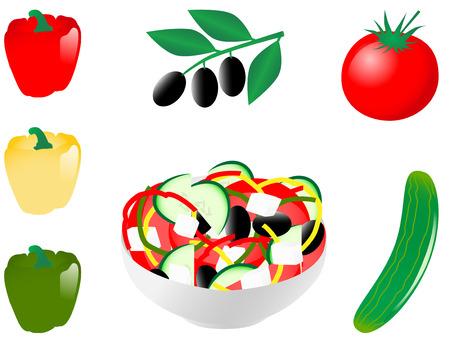 Vector illustration of vegetable salad
