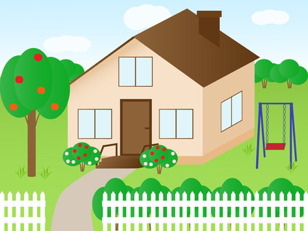 door swings: Vector illustration of a house