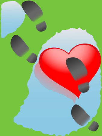 slop: Vector illustration of a heart with footprints