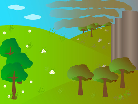 toxic cloud: Vector illustration of factory pipes