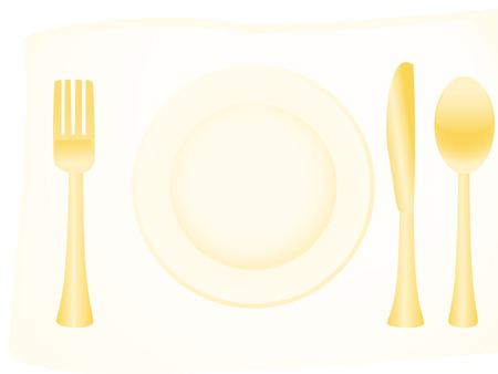 Vector illustration of golden flatware Vector
