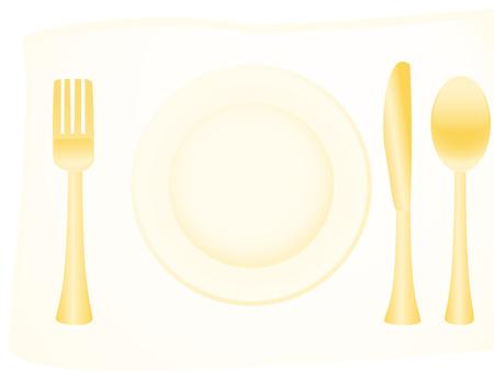 arranging: Vector illustration of golden flatware