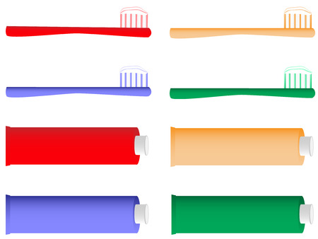 bristles: Vector illustration of toothbrush and toothpaste
