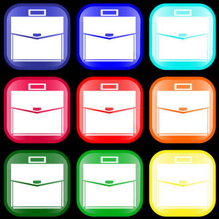 Icon of a briefcase on shiny buttons. Vector illustration. Vector