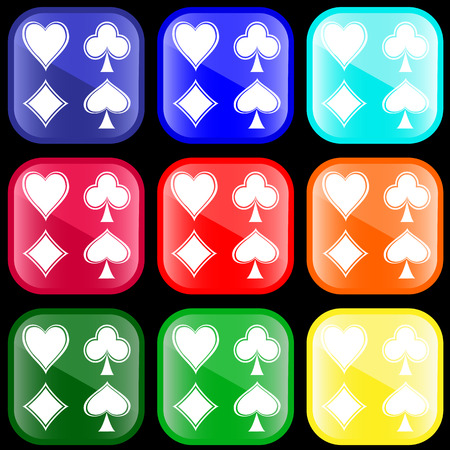 Icon of heart, spade, diamond and club on buttons Vector