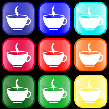 Icon of a cup of hot drink on shiny buttons
