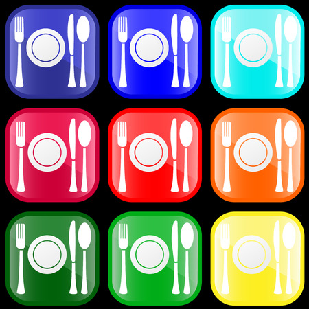 flatware: Icon of flatware on shiny buttons
