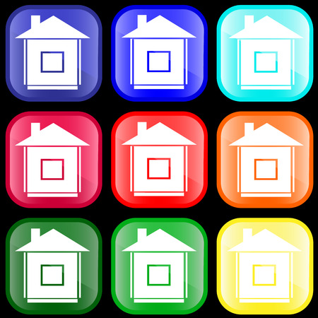 Icon of house on shiny buttons