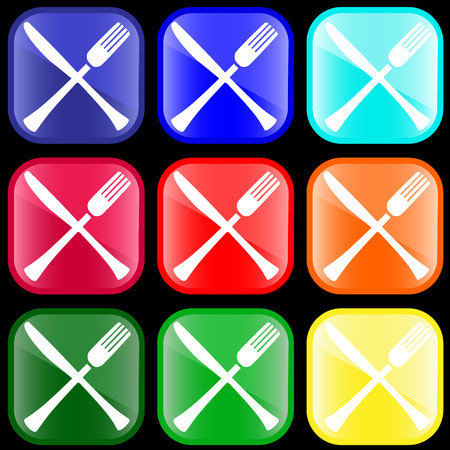 Icon of knife and fork on shiny buttons
