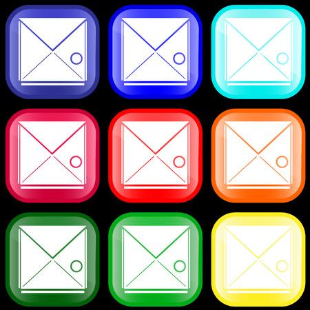 telegrama: Icono de dotación en los botones brillantes