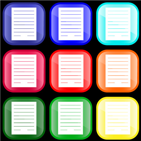 Icon of notes on shiny buttons Vectores