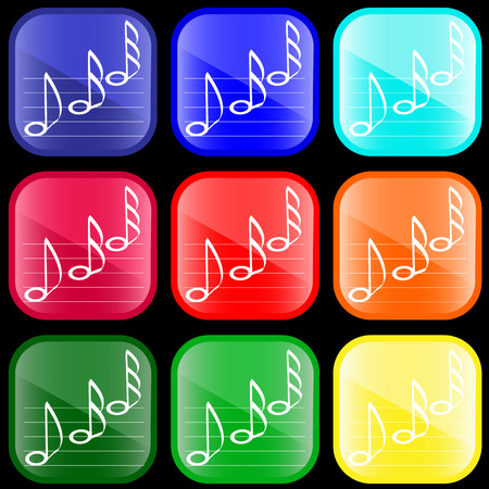 Icon of musical notes on shiny buttons