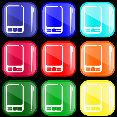 Icon of PDA on shiny buttons Vector