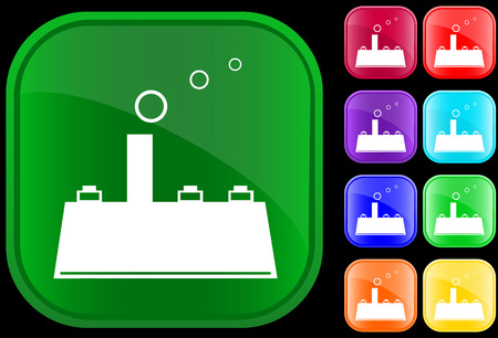 Icon of factory on shiny square buttons Vector