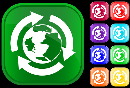 Earth icon in the recycling circle on shiny square buttons Vector