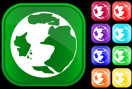 Icon of earth on shiny square buttons Vector