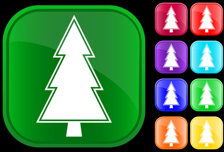 Fir icon on shiny square buttons Vector