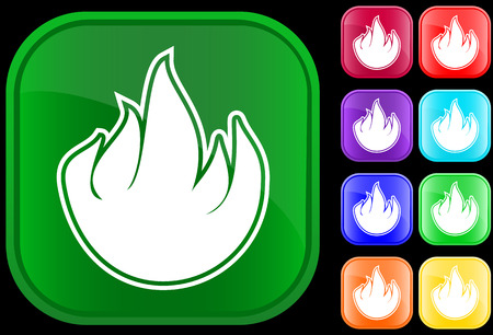 Icon of fire on shiny square buttons Stock Vector - 2994076