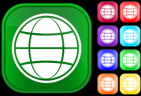 Globe icon on shiny square buttons Vector