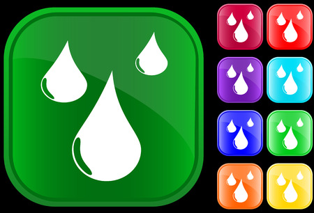 Symbol of water drop on shiny square buttons Vector
