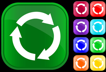environmentalist label: Icon of recycling circle on shiny square buttons