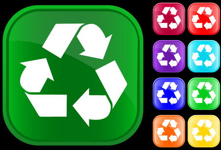 Icon of recycling symbol on shiny square buttons