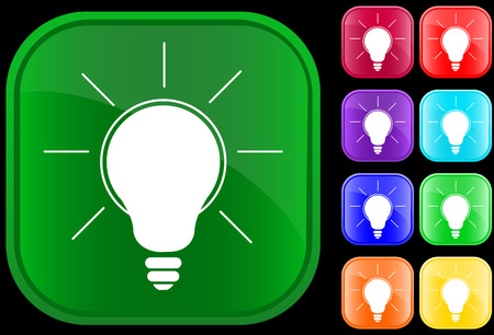 Icon of a glowing lamp on shiny square buttons Vectores