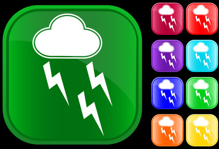 Icon of storm on shiny square buttons Vector
