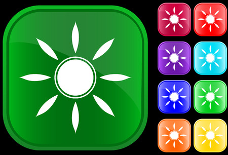 Sun symbol on shiny square buttons Vector