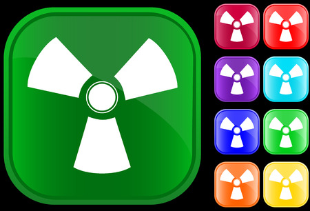 Toxic symbol on shiny square buttons Vector