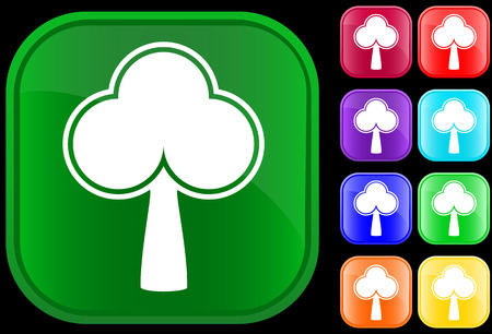 Icon of a tree on shiny square buttons Vector