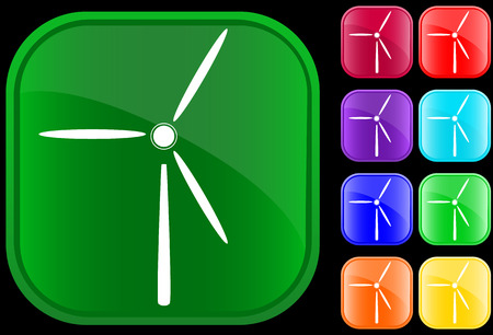 Icon of a windmill on shiny square buttons Vector