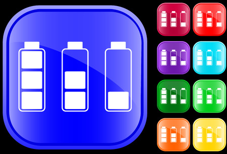 Icon of  batteries on shiny square buttons Stock Vector - 3008880