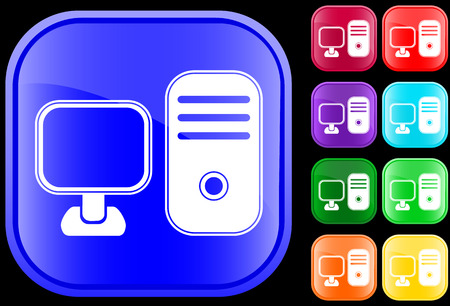 Icon of  a personal computer on shiny square buttons