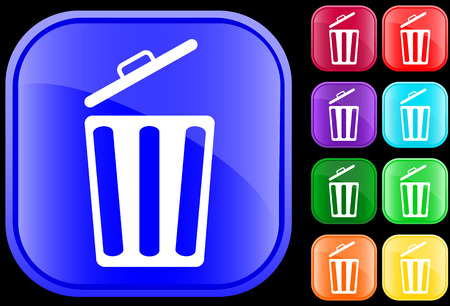 Icon of a garbage can on shiny square buttons Vectores