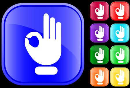 Icon of  OK gesture on shiny square buttons Vectores