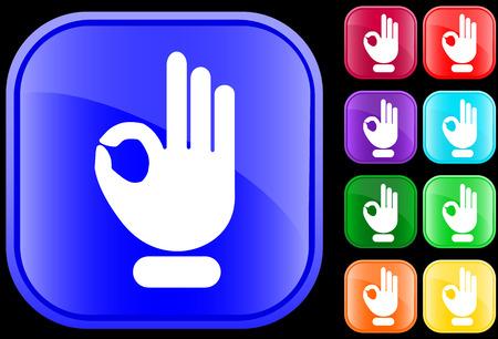Pictogram van de OK-gebaar op glanzende vierkante knoppen
