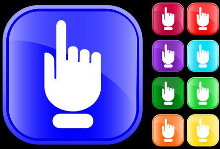 bouton brillant: Ic�ne de la main avec un doigt pointant  s�lection
