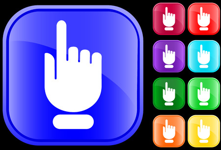 menu button: Icon of a hand with finger pointingselecting