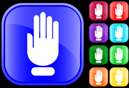 Icon of stop hand on shiny square buttons Vector