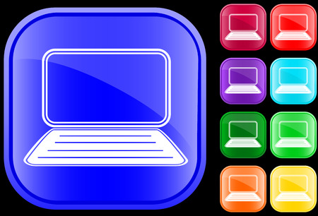 Icon of a laptop on shiny square buttons Vectores