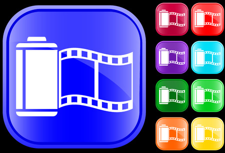Icon of film on shiny square buttons Vector