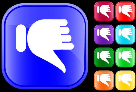 Thumbs down icon on shiny square buttons Vectores