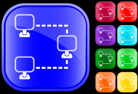 Networking icon on shiny square buttons Vectores