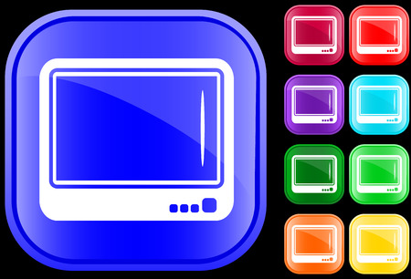 Icon of television on shiny square buttons