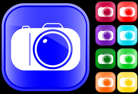 Icon of camera on shiny square buttons Vector