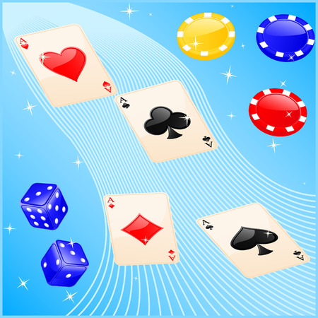 Vector illustration of casino elements: cards, chips and dice.